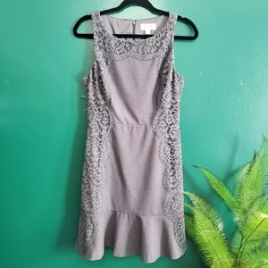 Elle Fit Flare Lace Sleeveless Dress Grey 4